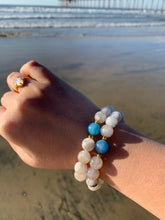 Load image into Gallery viewer, Moonstone and Aquamarine Healing Crystal Bracelet