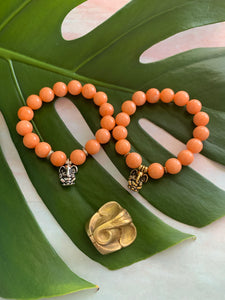 Ganesh Remover of Obstacles Orange Jade Gemstone Bracelet