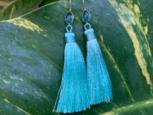 Light Blue Tassel Blue Topaz Statement Dangle Earrings