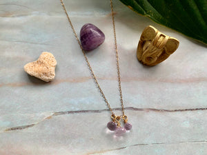 Dainty 3 Amethyst Healing Crystal Gemstones Gold Filled Necklace