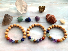 Load image into Gallery viewer, Chakra & Sandalwood Healing Crystal Beads Bracelet