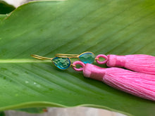 Load image into Gallery viewer, Hot Pink Tassel Blue Topaz Statement Dangle Earrings