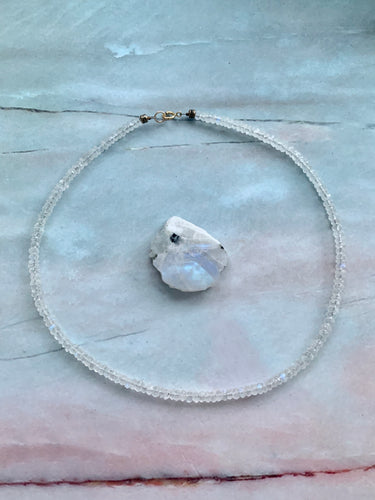 Dainty Moonstone Healing Crystal Gemstone Choker Necklace