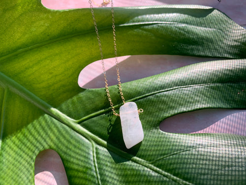 Raw Moonstone Healing Crystal Gold Filled Heart Necklace