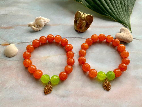 Faceted Orange & Green Dyed Quartz Gemstone Monstera Leaf Charm Bracelet