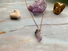 Load image into Gallery viewer, Raw Geode Amethyst Gemstone Healing Crystal Rose Gold Plated Pendant Necklace 10