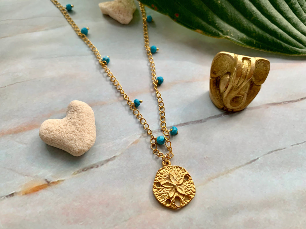 Blue Turquoise & Gold Filled Dollar Sand Shell Charm Necklace