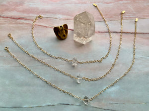 Raw Herkimer Diamond Gemstone Healing Crystal Gold Filled Heart Choker Necklace