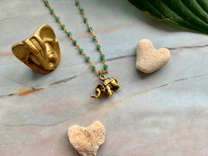 Green Chalcedony & Gold Elephant Good Luck Charm Necklace