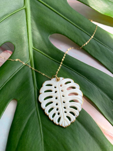Mother of Pearl Tropical Leaf Statement Necklace