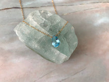 Load image into Gallery viewer, Grade AAA Blue Topaz Pear Shape Dainty Pendant Necklace