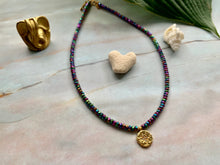 Load image into Gallery viewer, Multi-color Hematite & Stardust Gold Charm Choker Necklace