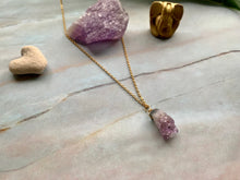 Load image into Gallery viewer, Raw Amethyst Gemstone Healing Crystal Gold Filled Pendant Necklace 0.1