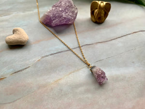 Raw Amethyst Gemstone Healing Crystal Gold Filled Pendant Necklace 0.1