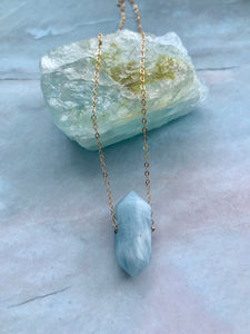 Double Terminated Aquamarine Gemstone Necklace