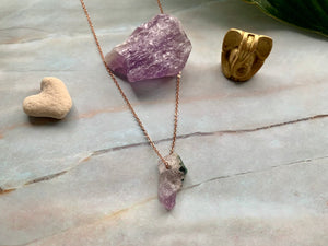 Raw Geode Amethyst Gemstone Healing Crystal Rose Gold Plated Pendant Necklace 10