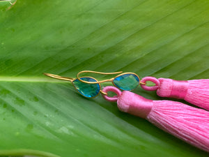 Hot Pink Tassel Blue Topaz Statement Dangle Earrings
