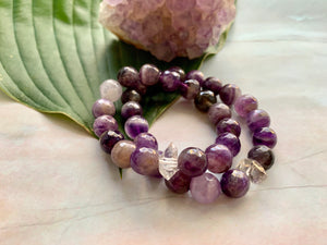 Faceted Amethyst and Herkimer Diamond Healing Crystal Bracelet