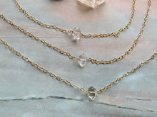 Load image into Gallery viewer, Raw Herkimer Diamond Gemstone Healing Crystal Gold Filled Heart Choker Necklace