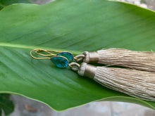 Load image into Gallery viewer, Light Brown Tassel Blue Topaz Statement Dangle Earrings