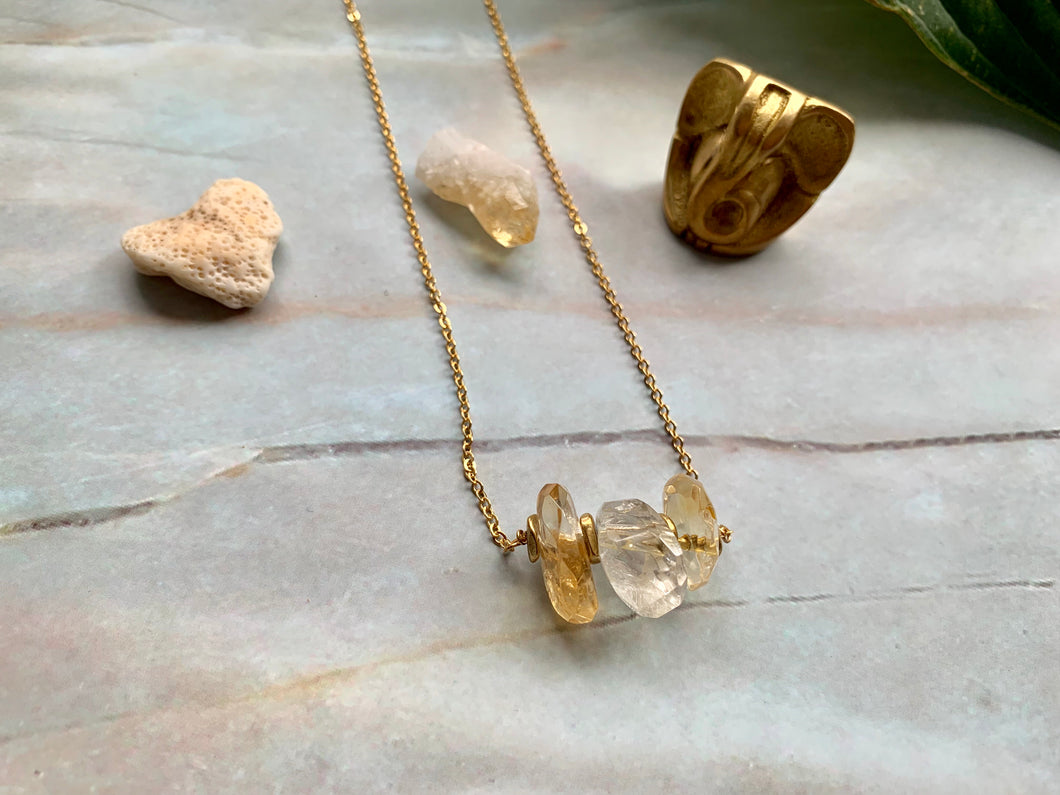 Citrine Healing Crystal Gemstone Gold Filled Necklace