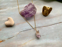Load image into Gallery viewer, Raw Amethyst Gemstone Healing Crystal Gold Filled Pendant Necklace 0.6