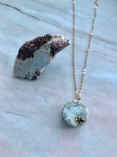 Load image into Gallery viewer, Natural Raw Larimar Gemstone Coin Pendant Necklace