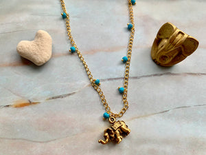 Blue Turquoise & Gold Elephant Good Luck Charm Necklace