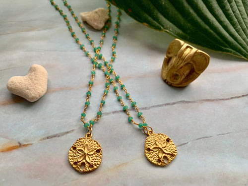 Green Chalcedony & Gold Filled Dollar Sand Shell Charm Necklace