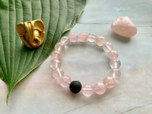 Load image into Gallery viewer, Rose Quartz Healing Crystals & Lava Bead Bracelet