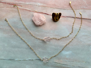 Rose Quartz Gemstone Healing Crystal Gold Filled Heart Choker Necklace
