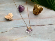 Load image into Gallery viewer, Dainty 3 Amethyst Healing Crystal Gemstones Gold Filled Necklace