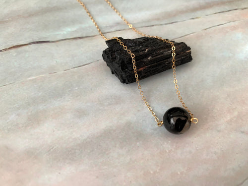 Black Tourmaline Gemstone Healing Crystal Gold Filled Necklace