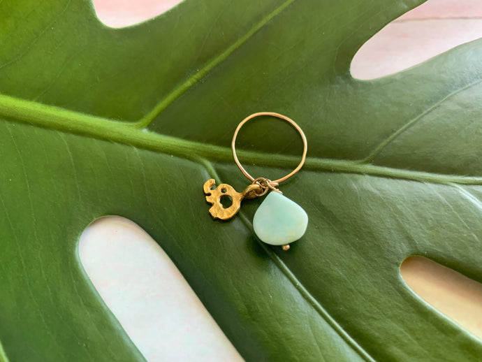 Gold Elephant Blue Peruvian Dainty Size 3.5 Knuckle Ring
