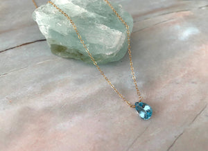 Grade AAA Blue Topaz Pear Shape Dainty Pendant Necklace