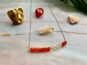 Multi-Gem: Citrine & Carnelian Rondelle Gold Filled Necklace