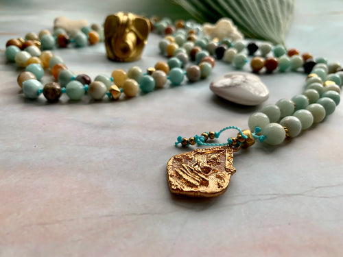 Courage & Truth Amazonite Gold Findings & Buddha Mala 108 Gemstone Beads Necklace