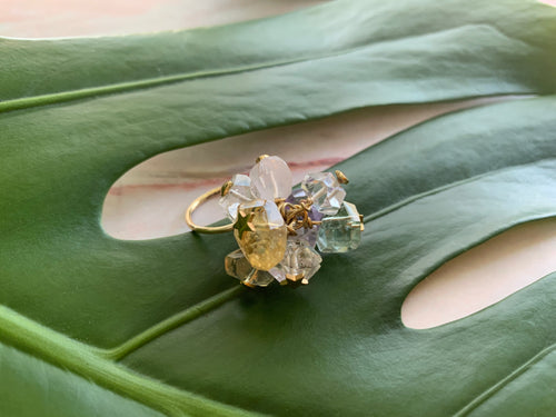 Multi-Gem: Citrine, Purple Amethyst, Quartz, Rose Quartz, Herkimer Diamond Statement 6.5 Ring