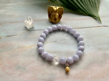 Load image into Gallery viewer, Blue Lace Agate & Clear Quartz Healing Crystals Pineapple Charm Bracelet