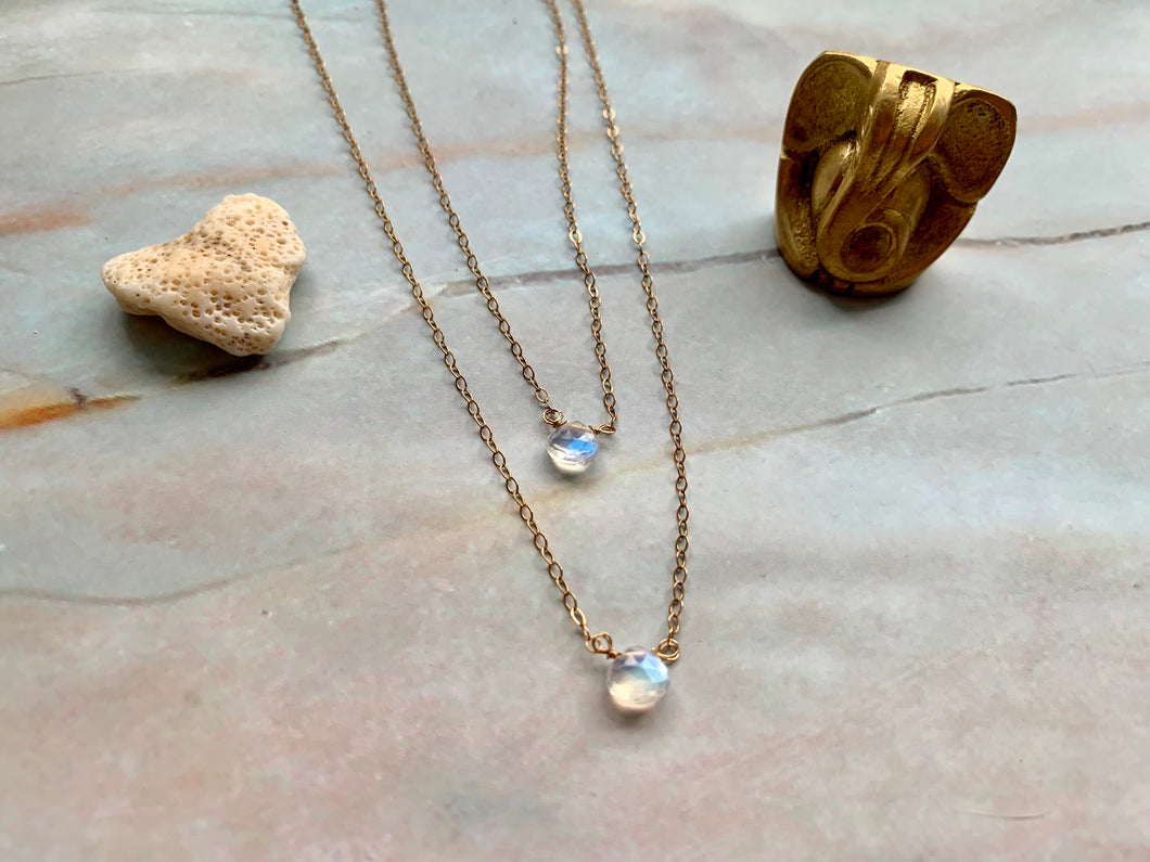 Dainty Moonstone Healing Crystal Gemstone Gold Filled Necklace