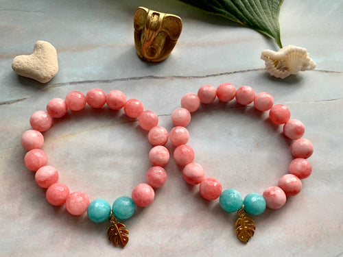 Faceted Pink Dyed Jade Gemstone Monstera Leaf Charm Bracelet