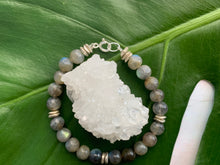 Load image into Gallery viewer, Labradorite Healing Crystal Silver Spacer Bracelet