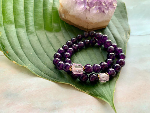 8mm Amethyst and Raw Lavender Kunzite Healing Crystal Bracelet