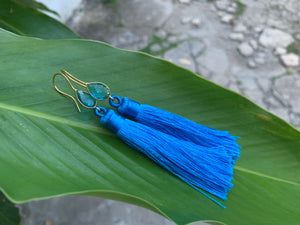 Royal Blue Tassel Blue Topaz Statement Dangle Earrings