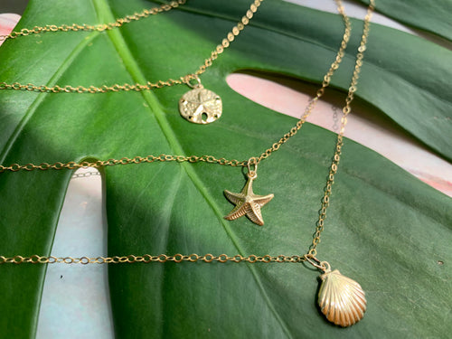 Moana Stack Sea Charm Gold Filled Necklaces