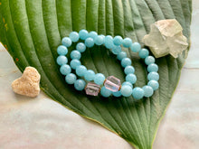 Load image into Gallery viewer, 8mm Aquamarine and Raw Lavender Kunzite Healing Crystal Bracelet