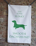 The Super Slinky Smooth Dachshund Tea Towel - Bottle Green Homes  - 1