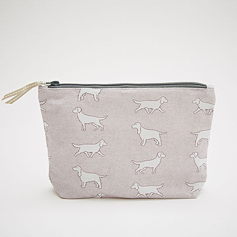 Spaniel Dogs Pink Fabric Wash Bag - Bottle Green Homes  - 1