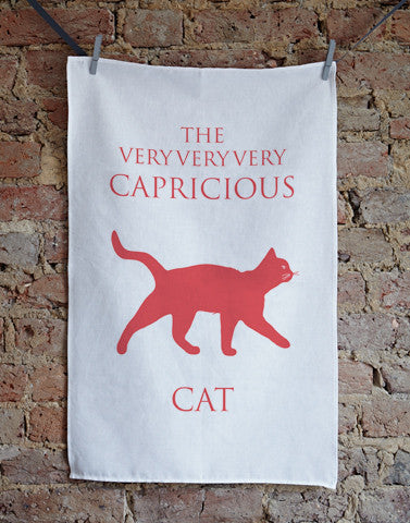 The Very Very Very Capricious Cat Tea Towel - Bottle Green Homes  - 1