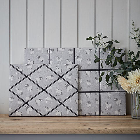 Grey Native Ponies Fabric Memo Board